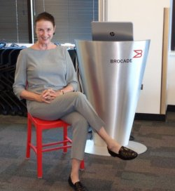 "Audrey conducted a program at Brocade and sat in the ""red chair."""